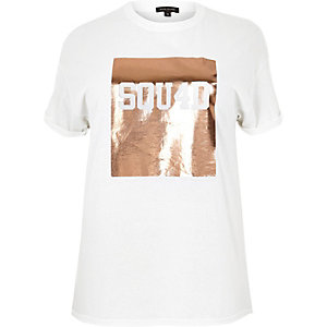 RI Plus white metallic boyfriend T-shirt