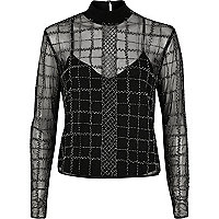 Silver grid embellished mesh top