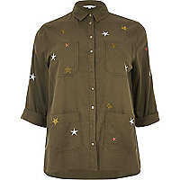 Plus khaki star embroidered shacket