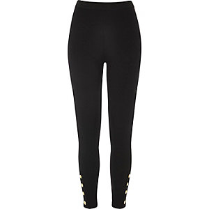 Black popper hem legging