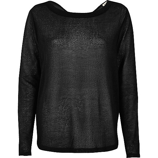 Black wrap back woven top