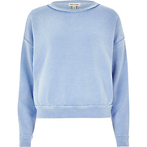 Baby blue washed burnout sweatshirt
