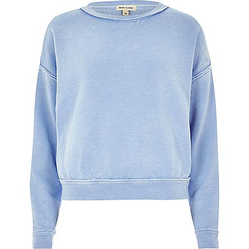 Hellblaues Burnout-Sweatshirt