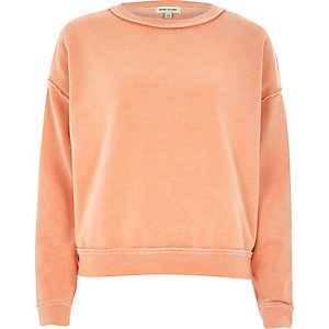 Orange washed burnout sweatshirt