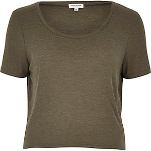 Khaki relaxed scoop neck T-shirt