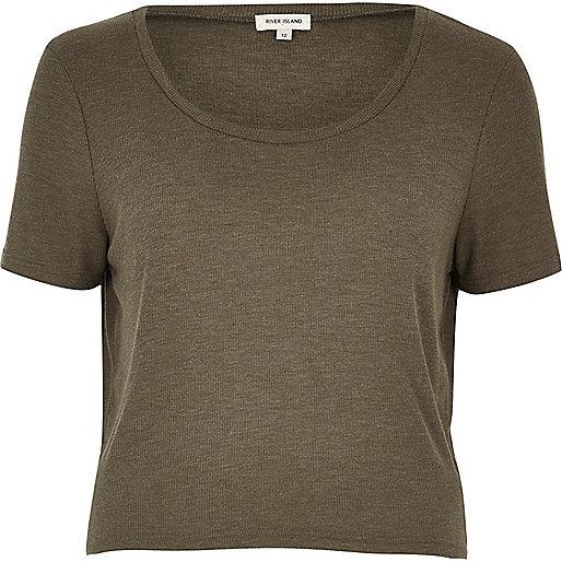 T-shirt décontracté kaki à encolure dégagée