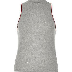 Grey ribbed sports tank top