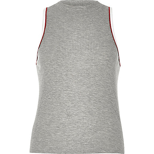 Grey ribbed sports tank top