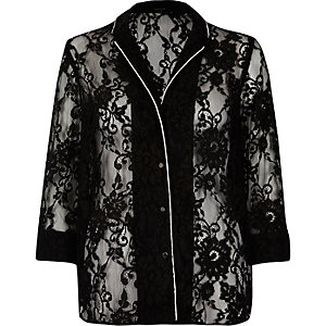 Black lace pajama shirt