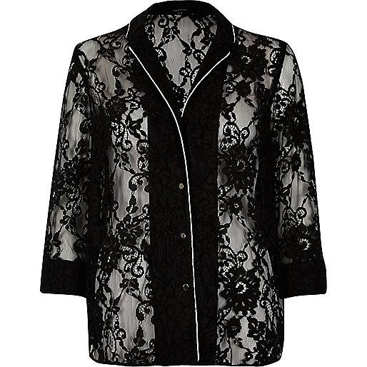 Black lace pajama shirt