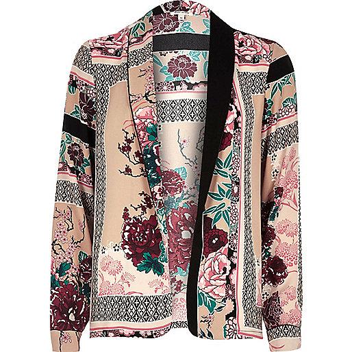 Hemdjacke mit asiatischem Muster in Rosa