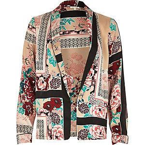 Pink oriental print shacket