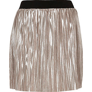 Metallic light pink pleated mini skirt
