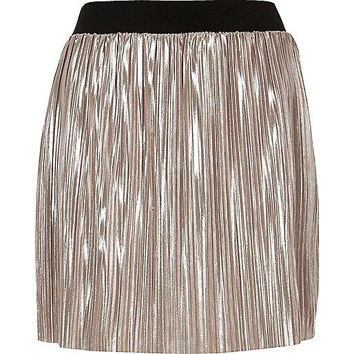 Metallic light pink pleated mini skirt