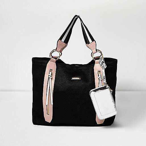 Black zip sports shopper bag