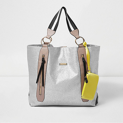 Silver zip sports shopper bag