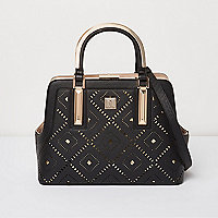 Black diamond laser cut tote bag