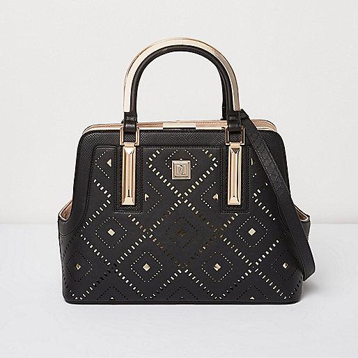 Schwarze Tote Bag mit Laserschnitt-Design