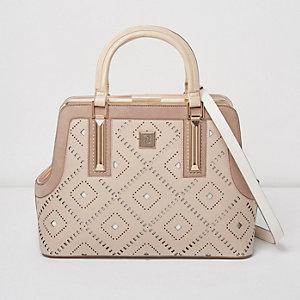 Blush pink diamond laser cut tote bag