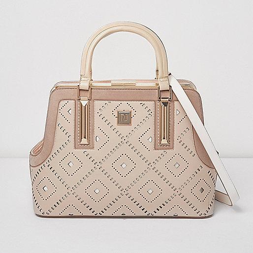 Blush pink diamond laser cut tote bag