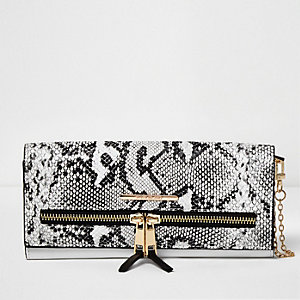 White snake print multifunctional purse