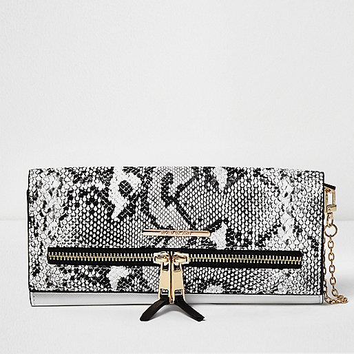 White snake print multifunctional purse