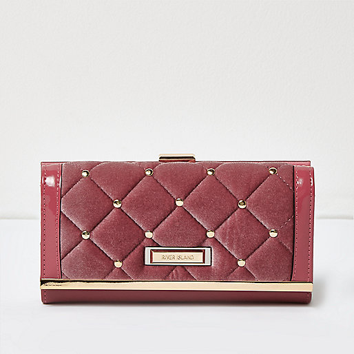 Pink quilted velvet clip top purse