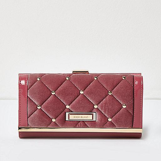 Porte-monnaie en velours rose matelassé