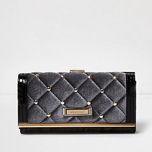 Grey quilted velvet clip top purse