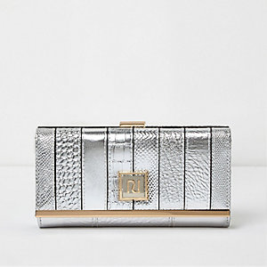 Silver metallic panel clip top purse