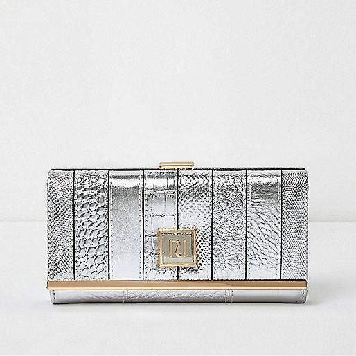 Silver metallic panel clip top purse