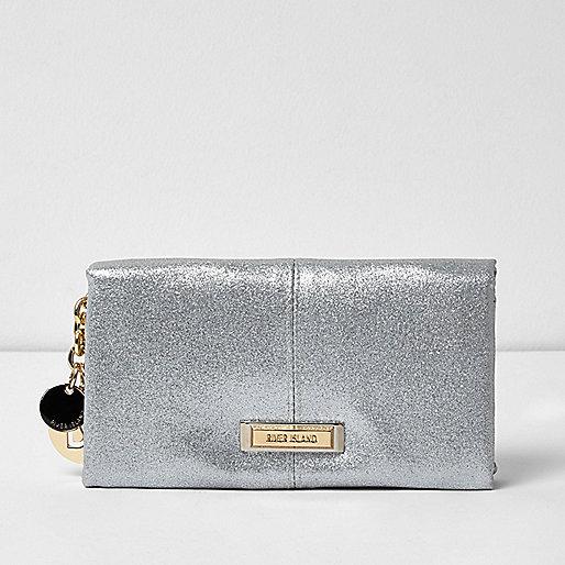 Silver glitter soft foldover purse
