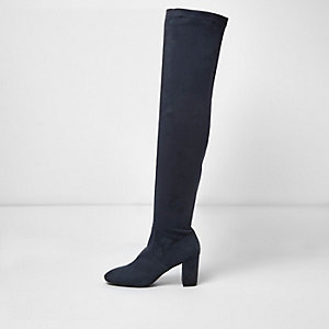 Navy over the knee block heel boots