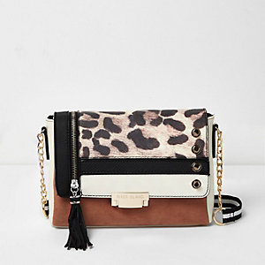 Brown mixed print cross body handbag