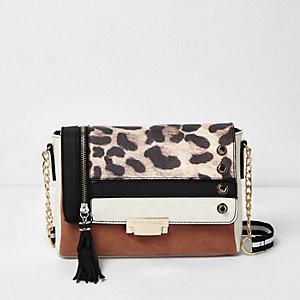 Brown mixed print cross body handbag