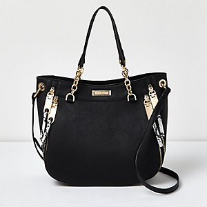 Black snakeskin chain detail tote with zips