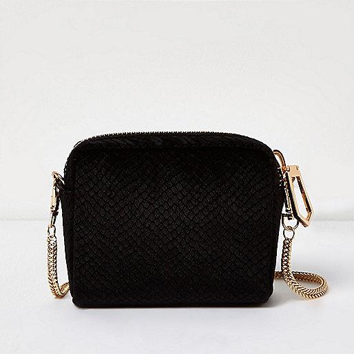 Black velvet snake print mini bag