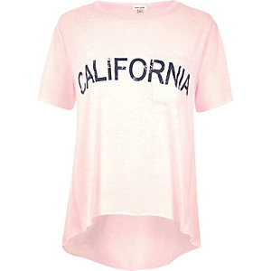 "T-Shirt mit ""California""-Print in Rosa"