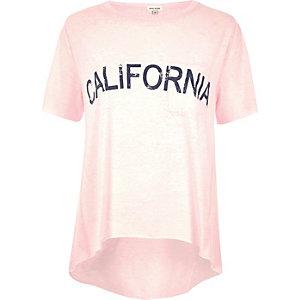 Pink 'California' print T-shirt
