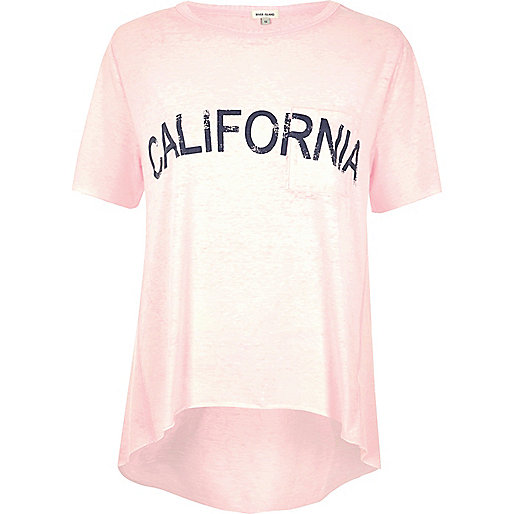 Pink 'California' print T-shirt