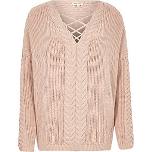 Blush pink cable knit tie front sweater