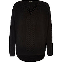 Black cable knit tie front sweater