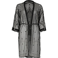Black embellished kimono