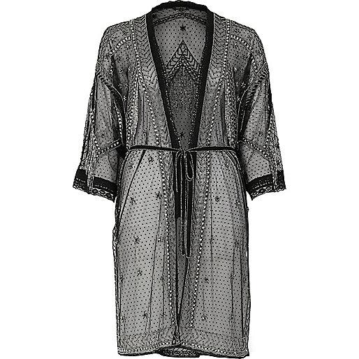 Kimono noir orné