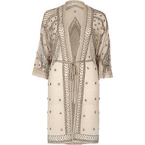 Nude embellished kimono