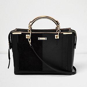 Black panel boxy tote bag