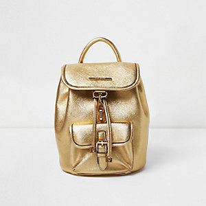 Mini sac à dos doré métallisé