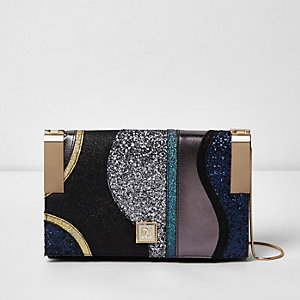 Black glitter hinge clutch bag