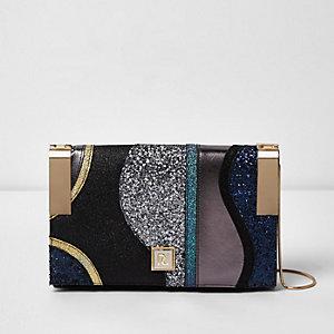 Black glitter hinge clutch bag