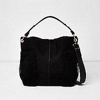 Black faux fur panel slouch bag